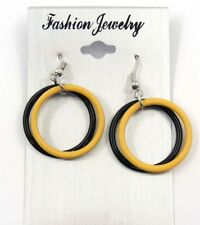 Pittsburgh Steelers NFL Football Dangle Earrings Black Loop and Gold Loop