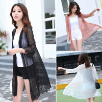 Summer Women's Casual Long Sleeve Cardigan Thin Lace Top Coat Outwear Plus Size