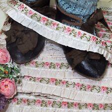 1y Vtg French Beige Pink Ruffle Jacquard Ribbon Doll Dres Trim Roco Rosette Antq