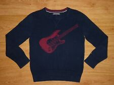 Kids Tommy Hilfiger Navy Guitar Intarsia Cotton Jersey Jumper Sweater Top 6/ 116