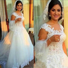 2018 Modest Wedding Dress V Neck A Line Bridal Gown Custom Size2 4 6 8 10 12 14+