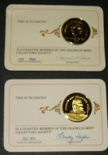 Franklin Mint Collectors Society Member Gold Plated Silver Medals 1973 1980