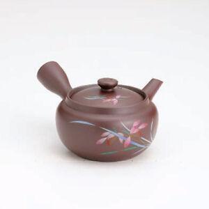 Banko-yaki Kyusu teapot - Orchid - 300cc/ml - obi ami stainless steel net