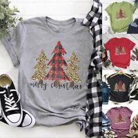 Women O-neck Tops Christmas Tree Cheetah Print Plaid Short Sleeve casual T-shirt