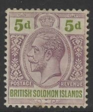 BRITISH SOLOMON IS. SG30 1914 5d DULL PURPLE & OLIVE-GREEN MTD MINT