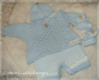 Baby /Reborn doll designer knitting pattern ..Angel top/shorts/hat/bootees