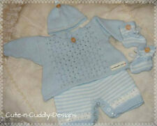 Baby /Reborn doll designer knitting pattern ..Angel top/shorts/hat/bootees