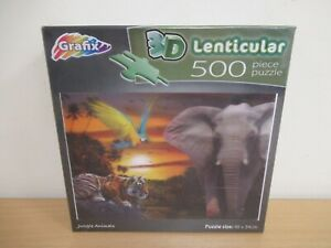 Grafix 3D Lenticular 500 Piece Jungle Animals Jigsaw Puzzle Sealed (C389)