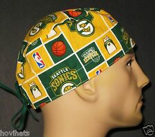 SEATTLE SUPERSONICS SCRUB HAT / SURGICAL CAP NBA  FREE SIZING!