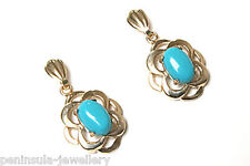 9ct Gold Turquoise Celtic Drop earrings Made in UK Gift Boxed