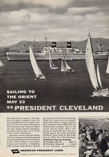 1962 American President Lines PRINT AD Cruise Sailing to Orient SS Cleveland
