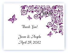 100 Custom Personalized Purple Butterfly Wedding Bridal Thank You Cards