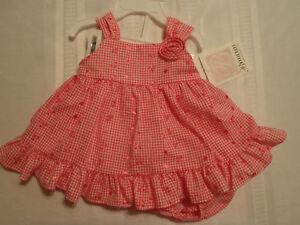 BONNIE BABY 3-6 Month Pink Gingham Sundress Bloomer Dress Set NWT