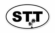 "STT Saint Thomas Palm Trees Oval car bumper sticker decal 5"" x 3"""