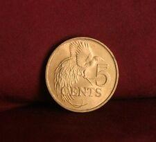 1979 Trinidad Tobago 5 Cents Bronze Unc World Coin KM30 Bird of Paradise RARE