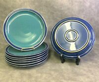 "4 DENBY ENGLAND HARLEQUIN Stoneware Blue Green Dinner Plates 10.25"" 10 1/4"""