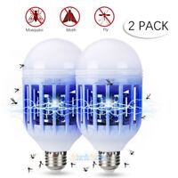2x 15W Bug Zapper LED Light Bulb Insect Mosquito Fly Trap Killer Lamp In/Outdoor
