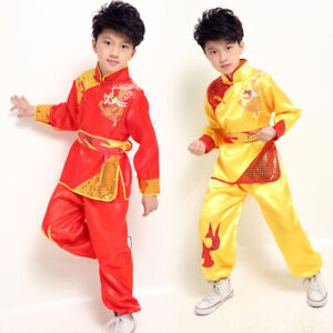 Kids Kung Fu Suit Satin Frog Button Sequin Chinese Tradition Tai Chi Costume Set