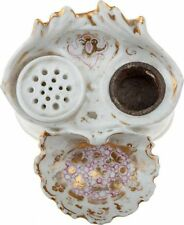 """Antique Early 19C French Neo-Rococo Porcelain Inkwell Handpainted Gold/Pink H 3"""""""