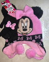 Disney MINNIE MOUSE Knit HAT BEANIE Cap & MITTENS SET Toddler Size NWT
