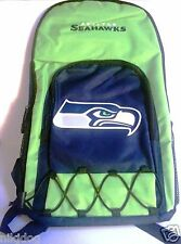 Seattle Seahawks Backpack Lime Green Adjustable Straps Large Front Zipper Pocket