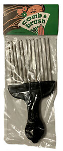 Vintage 1970's Afro hair Pick plastic handle tribal face new sealed NOS
