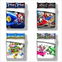 Super Mario Duvet Cover Anime Bedding Set Quilt Cover Pillow Cases All Sizes HD