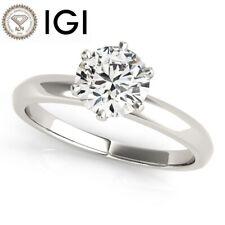 Round 14K White Gold Certified 6 Prong Igi Diamond Engagement Ring Vs2 H 2 Carat