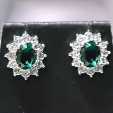 2 Ct Oval Blue Aquamarine Halo Earrings Solid 925 Sterling Silver Women Jewelry