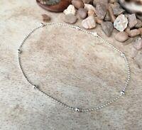 Silver or Rose Gold Plain Ball Beaded Anklet, Ankle Bracelet Dainty Beach