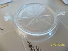 Vintage Fire King clear Glass Table Server Tab Handled Hot Plate TRIVET