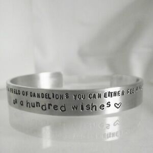 Message Cuff Bangle Personalised Torque Handmade ....a hundred wishes