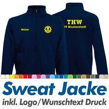 Sweatjacke THW navy, Fruit of the Loom, Sweat Jacke inkl. Ihrem Wunschdruck Logo