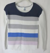 Old Navy Sweater Rounded Neckline Multi Stripe Front Solid White Back XS #6001