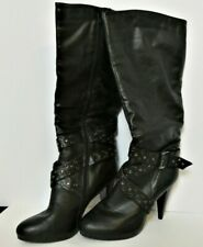 """Black Leather 4"""" Heel Platform Goth Punk Knee Boot with Straps Sexy Riding Gypsy"""