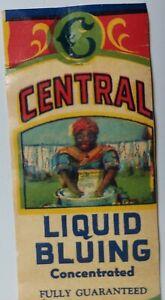 Central Liquid Bluing 2 Oz Bottle Label Cottonport LA Washing Laundry Black Ame