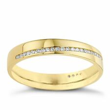 Ernest Jones 9 Carat Yellow Gold 3.6mm 0.13 CT Diamond Wedding Band Ring J 2.0g