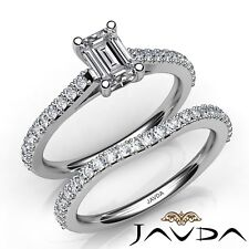 1.58ctw Prong Side Stone Bridal Emerald Diamond Engagement Ring GIA F-VS1 W Gold
