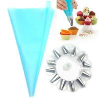 Silicone Icing Piping Cream Pastry Bag 14Nozzle Set Cake Decorating Tools DIY BT