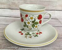 Vintage Sheffield Strawberry Strawberries Cream Tea Cup Plate Dish Set MCM Japan
