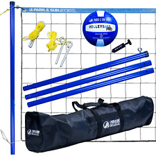 Park & Sun Volley Sport Portable Outdoor Steel Volleyball Net Set with Bag, Blue