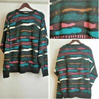 London Fog Vintage 90's Coogi Cosby style Mens Medium Black Jumper Sweater J1