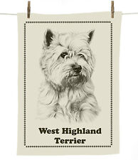 Mike Sibley West Highland White/Westie breed cotton tea towel - dog lover gift