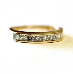 14k yellow gold .70ct womens princess diamond wedding ring estate band vintage