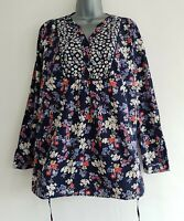 SPIRIT At M&Co Women's Navy Mix Floral Cotton Belted Tunic Top. Size UK 14,US 10