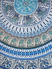 "Indian Print Mandala Round Cotton tablecloth 70"" Blue"