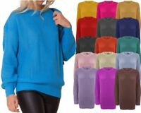 Ladies Women Knitted Over size Fisherman Baggy Jumper Chunky Sweater TOP 8-20