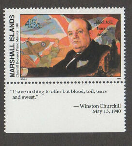 MARSHALL ISLANDS, SCOTT # 251, CHURCHILL BECOMES PRIME MINISTER, WITH TAB, MNH