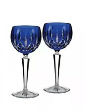 Waterford Lismore Prestige Cobalt Hock Pair Two Glasses Brand New # 156170