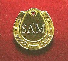 Médaille gravée Chien ou Cheval - FER A CHEVAL doré gravée pour collier ou tapis